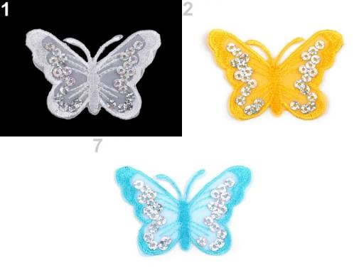 Nažehlovačka motýľ s flitrami ružová 2ks