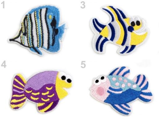 Nažehlovačka vyšívaná ryby modrá nebeská 1ks