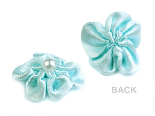 Saténový kvet Ø25 mm s perlou biela 10ks