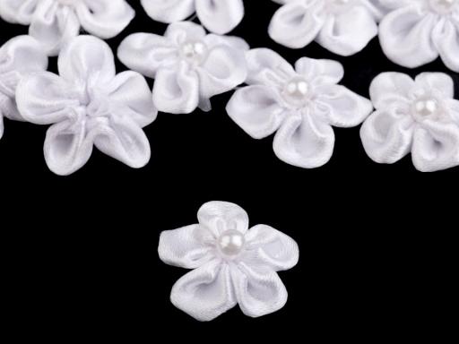 Saténový kvet Ø25 mm s perlou ecru 10ks