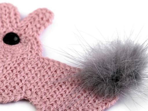 Háčkovaná textilná aplikácia s brmbolcom králík staroružová sv. 10ks