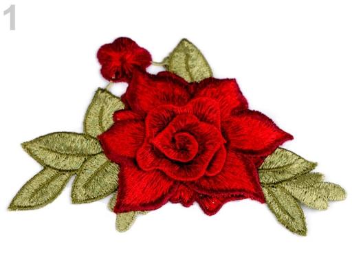 Nažehlovačka kvet 3D červená 1ks