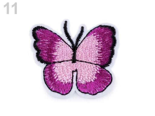 Nažehlovačka motýľ fialovoružová 2ks