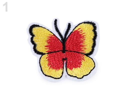 Nažehlovačka motýľ žltá 2ks