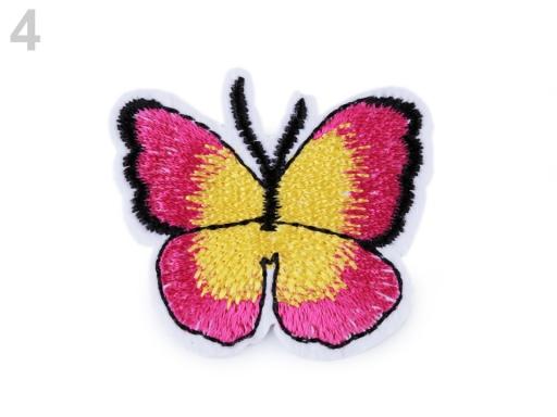 Nažehlovačka motýľ ružová ostrá 2ks