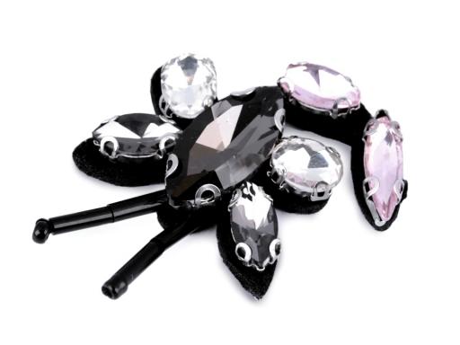 Aplikácia s brúsenými kameňmi motýľ, vážka, včela fialová 1ks