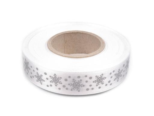 Vianočná stuha vločky šírka 20 mm Antique White 20m