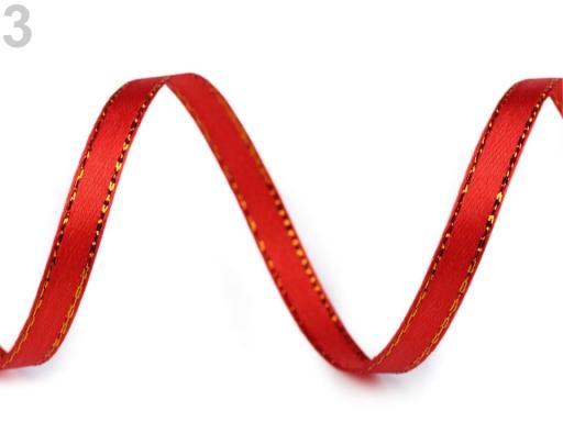 Atlasová stuha s lurexom šírka 6 mm červená 225m