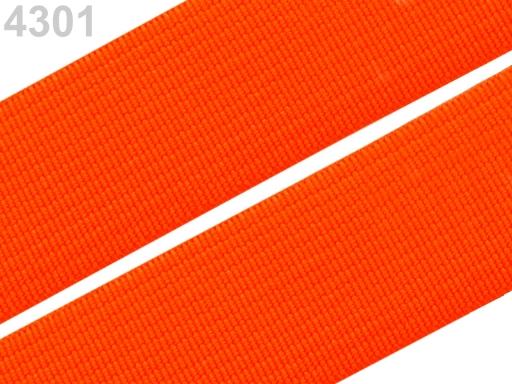 Guma hladká šírka 20mm tkaná farebná ČESKÝ VÝROBOK Vermillion Orange 25m