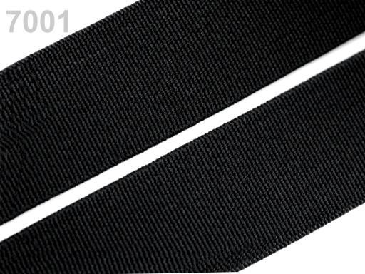 Guma hladká šírka 20mm tkaná farebná ČESKÝ VÝROBOK Black 25m