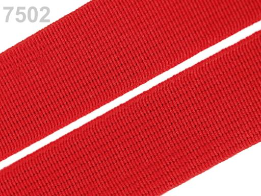 Guma hladká šírka 20mm tkaná farebná ČESKÝ VÝROBOK Fiery Red 25m