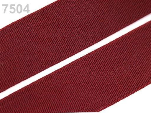 Guma hladká šírka 20mm tkaná farebná ČESKÝ VÝROBOK Beaujolais 25m