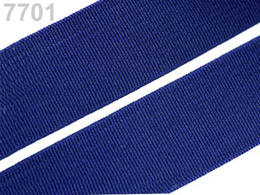 Guma hladká šírka 20mm tkaná farebná ČESKÝ VÝROBOK Dazzling Blue 25m