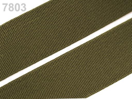 Guma hladká šírka 20mm tkaná farebná ČESKÝ VÝROBOK Avocado 25m