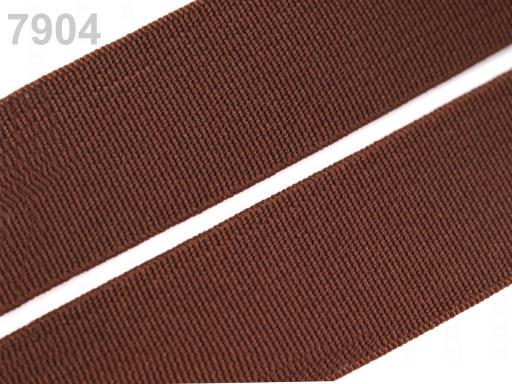 Guma hladká šírka 20mm tkaná farebná ČESKÝ VÝROBOK Friar Brown 25m