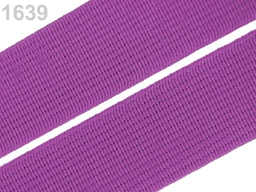 Guma hladká šírka 20mm tkaná farebná ČESKÝ VÝROBOK Bright Violet 25m