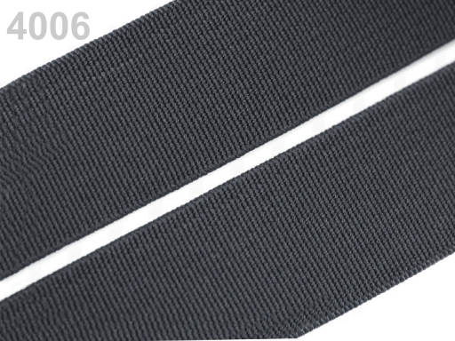 Guma hladká šírka 20mm tkaná farebná ČESKÝ VÝROBOK Charcoal Gray 25m