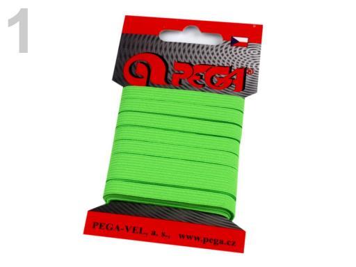 Guma na bielizeň na kartičke šírka 7 mm farebná zelená elektrická 5kar.