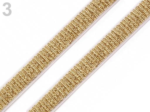 Guma ramienková šírka 10 mm s lurexom Sunset Gold 13.5m