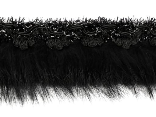 Prámik s kožušinou šírka 40 mm čierna 9m