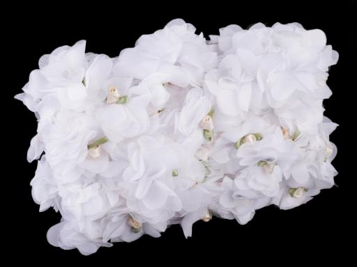Prámik kvet s ružičkou na tyle šírka 60 mm krémová sv. 1m