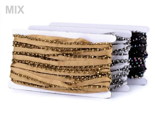Prámik / paspulka s brúsenými korálikmi šírka 15 mm šedá sv. 1m