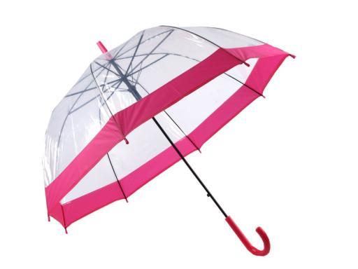 Dáždnik s rúčkou dámsky vystreľovací priehľadný hlboký fialová levandula 1ks