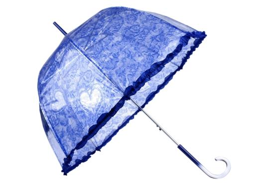 Dámsky priehľadný vystreľovací dáždnik s volánkom ružová sv. 1ks