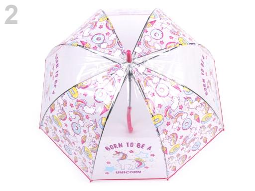 Dievčenský priehladný vystrelovací dáždnik jednorožec pink 1ks