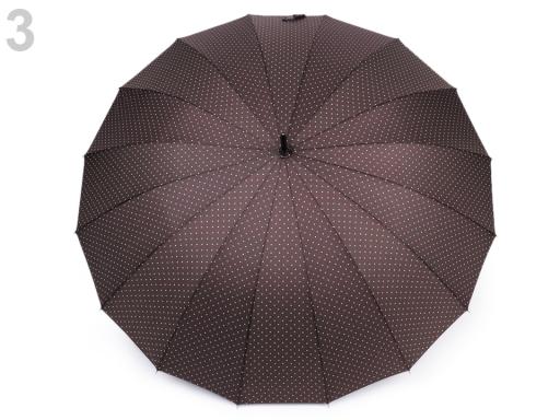 Dámsky vystrelovací dáždnik s bodkami hnedá 1ks