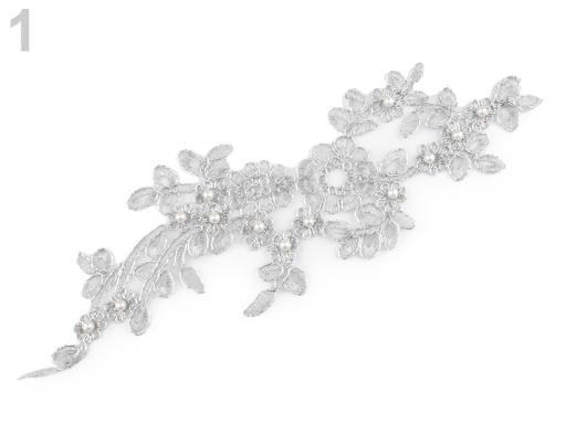 Lurexová aplikace / vsádka na monofile 10,5x32 cm s perlami, na spoločenské šaty strieborná 1ks