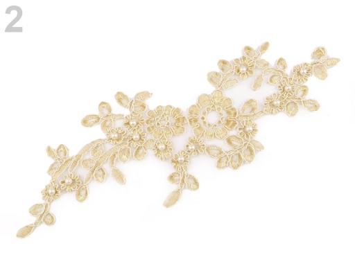 Lurexová aplikace / vsádka na monofile 10,5x32 cm s perlami, na spoločenské šaty zlatá svetlá 1ks