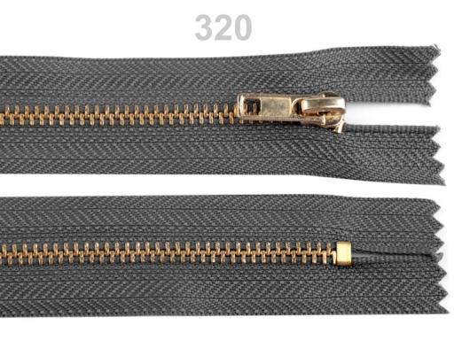 Kovový / mosadzný zips šírka 4 mm dĺžka 18 cm nohavicový Zinc 1ks
