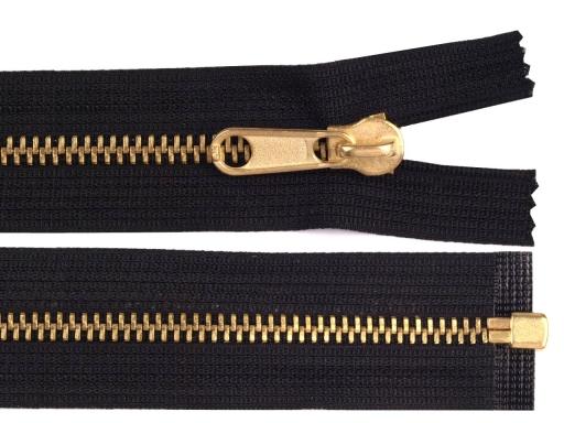 Kovový / mosadzný zips šírka 6 mm dĺžka 200 cm obojstranný bežec Black 1ks