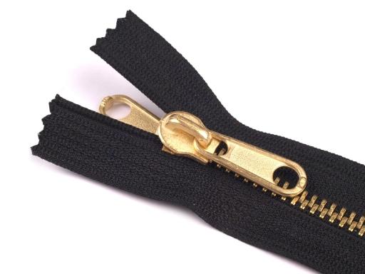 Kovový / mosadzný zips šírka 6 mm dĺžka 150 cm, dĺžka 160 cm obojstranný bežec Black 1ks
