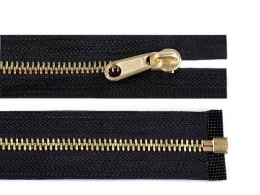 Mosadzný zips šírka 6 mm dĺžka 250 cm obojstranný bežec Black 1ks