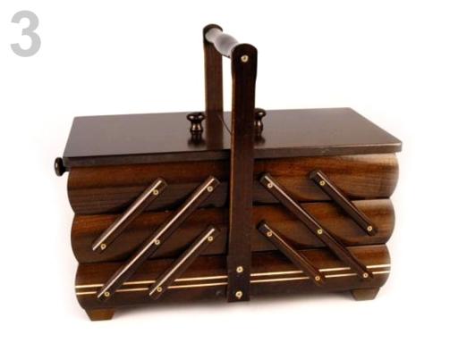 Kazeta / košík na šitie rozkladacia malá hnedá 2ks