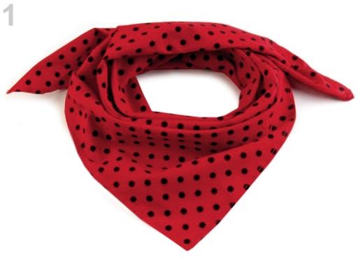 Bavlnená šatka s bodkami 65x65 cm červená 5ks