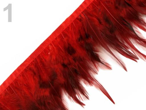 Prámik - kohútie perie šírka 12 cm červená 10m