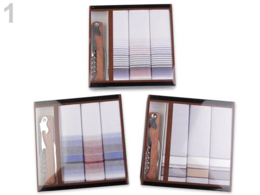 Pánska vreckovka / darčeková kazeta náhodný mix farieb a vzorov 1krab.