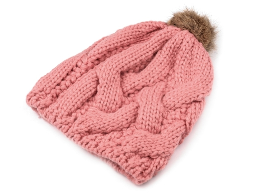 Dámska zimná čiapka s pravým kožušinovým brmbolcom pink 1ks