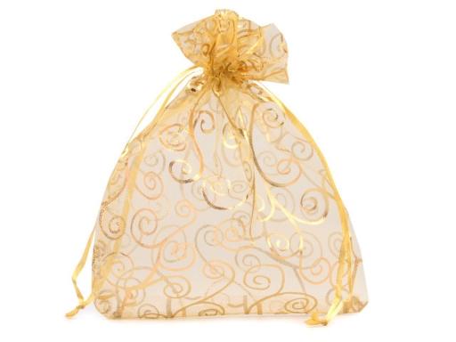 Darčekové vrecúško 13,5x17,0 cm organza s ornamentami zlatá 10ks