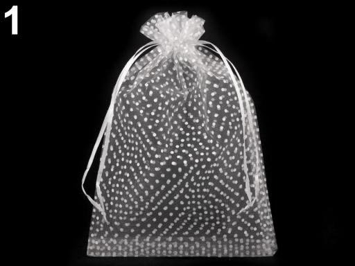 Darčekové vrecúško 17x24 cm organza s bodkami biela 10ks