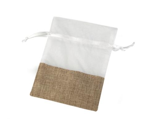 Darčekové vrecúško kombinované 13x18 cm biela 10ks