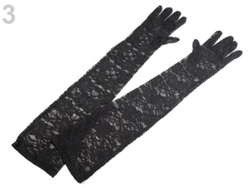 70a538581 Spoločenské rukavice 56 cm čipkované biela 10pár
