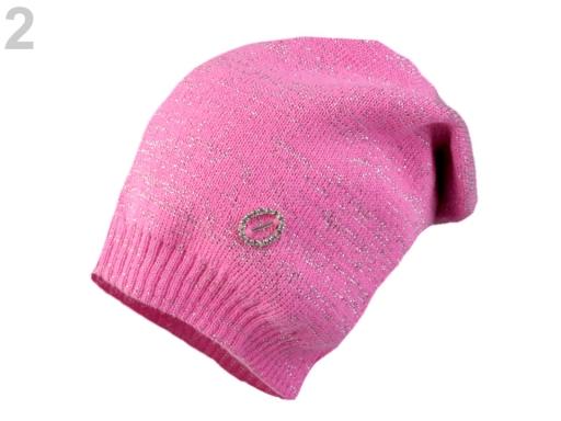 Dievčenská pletená čiapka s lurexem Capu ružová 6ks