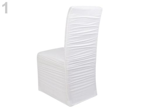 Elastický návlek na stoličky riasený biela 4ks