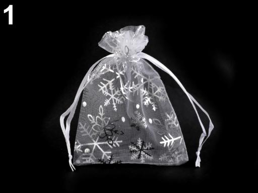 Darčekové vrecúško 9x12 cm organza s vločkami biela 50ks