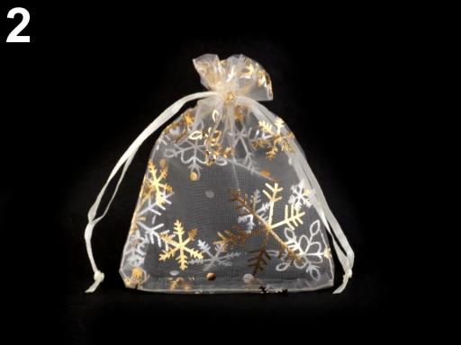 Darčekové vrecúško 9x12 cm organza s vločkami krémová najsvetl 50ks