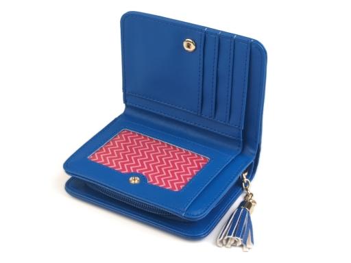 Peňaženka so strapcom 9x11,5 cm modrá azurová 1ks